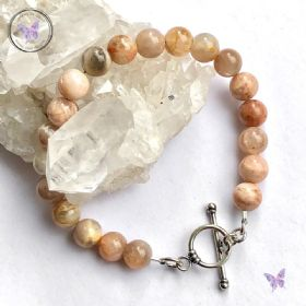 Sunstone Healing Bracelet with Silver Toggle Clasp
